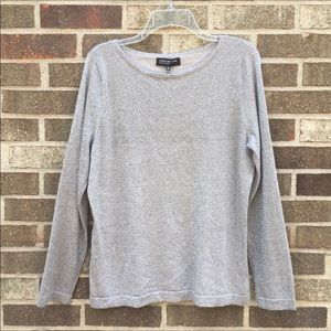 Jones New York metallic silver knit top NWT